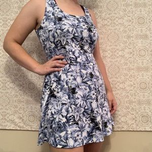 H&M Blue Hibiscus Floral Fit Flare Mini Dress